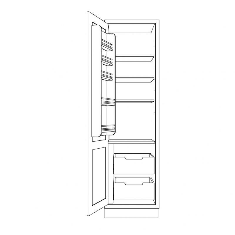 KR1 Tall Single Larder with Drawers 680 Open