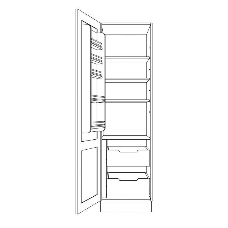KR2 Tall single 600 Larder with drawers Open 1