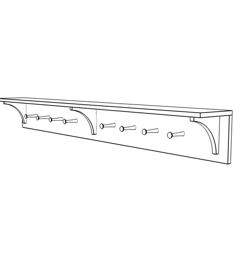 Shelf with coat pegs 2